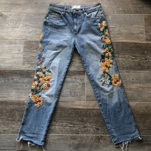 Free People Embroidered Girlfriend Jeans Size 26